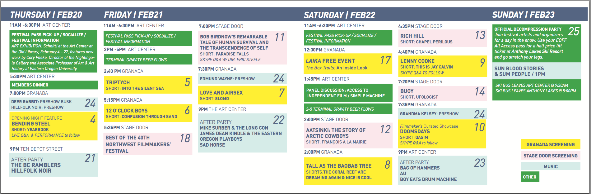 #EOFF2014 // FULL SCHEDULE OF EVENTS